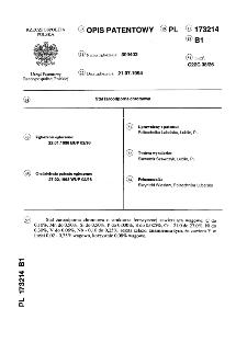 Stal żaroodporna chromowa : opis patentowy nr 173214