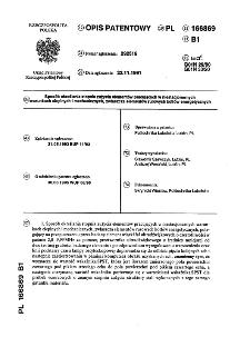 Sposób określania stopnia zużycia elementów pracujących w niestacjonarnych warunkach cieplnych i mechanicznych, zwłaszcza elementów rurowych kotłów energetycznych : opis patentowy nr 166869