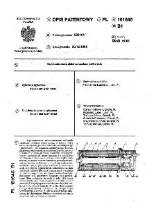 Szybkoobrotowe elektrowrzeciono szlifierskie : opis patentowy nr 161645