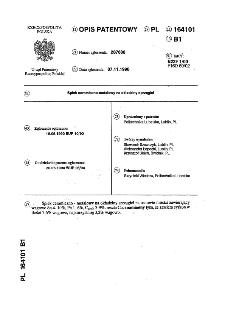 Spiek ceramiczno-metalowy na okładziny sprzęgieł : opis patentowy nr 164101