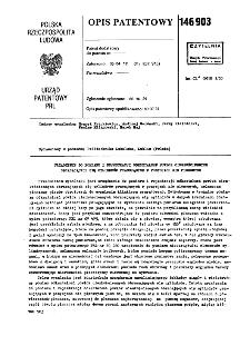 Urządzenie do pomiaru i rejestracji odkształceń powłok cienkościennych obracających się cylindrów pracujących w pozycjach nie pionowych : opis patentowy nr 146903