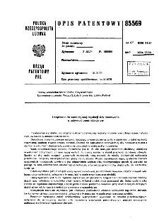 Urządzenie do samoczynnej regulacji siły mocowania w uchwycie pneumatycznym : opis patentowy nr 85569