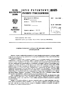 Urządzenie do czyszczenia, szlifowania lub polerowania powierzchni, zwłaszcza płaskich : opis patentowy patentu tymczasowego nr 89625