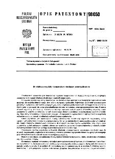 Bimetalowy regulator temperatury nie dający przeregulowania : opis patentowy nr 98050