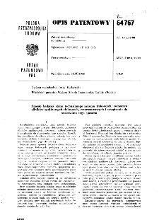 Sposób badania stanu technicznego maszyn tłokowych, zwłaszcza silników spalinowych tłokowych, czterosuwowych i urządzenie do stosowania tego sposobu : opis patentowy nr 64767