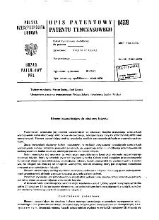 Element uszczelniający do obudowy łożyska : opis patentowy patentu tymczasowego nr 84378