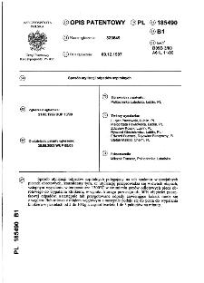 Sposób utylizacji odpadów szpitalnych : opis patentowy nr 185490