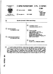 Sposób wytwarzania klinkieru cementowego : opis patentowy nr 187021