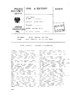 Sposób otrzymywania szczawianu amonowo-żelazowego : opis patentowy nr 140479