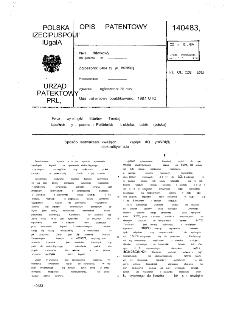 Sposób wytwarząnia kwaśnych kąpieli do cynowania elektrolityczego : opis patentowy nr 140483