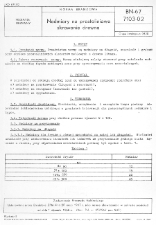Nadmiary na prostoliniowe skrawanie drewna BN-67/7103-02