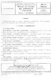 Drewno do wyrobu płyt pilśniowych i wiórowych - Nazwy i określenia BN-75/7100-03