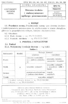 Drewno średnio- i małowymiarowe ogólnego przeznaczenia BN-75/9222-01
