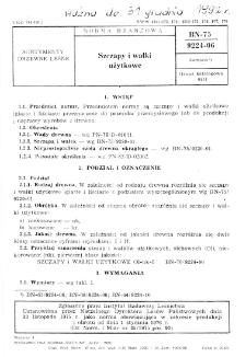 Szczapy i wałki użytkowe BN-75/9224-06
