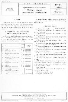Płyty wiórowe uszlachetnione - Metody badań właściwości powierzchni BN-81/7102-11
