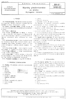 Wyroby plecionkarskie ze słomy - Wymagania i badania BN-81/8460-23