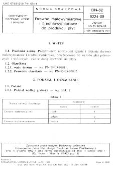 Drewno małowymiarowe i średniowymiarowe do produkcji płyt BN-82/9224-09