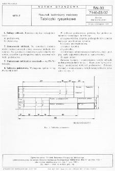 Rysunek techniczny meblowy - Tabliczki rysunkowe BN-90/7140-03/02