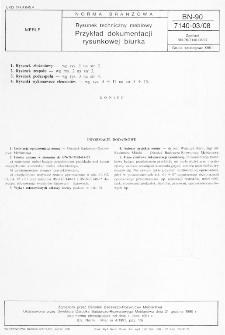 Rysunek techniczny meblowy - Przykład dokumentacji rysunkowej biurka BN-90/7140-03/08