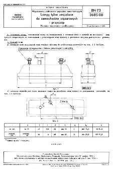 Wyposażenie elektryczne pojazdów samochodowych - Lampy tylne zespolone do samochodów ciężarowych i przyczep - Wymiary mocowania i podłączenia BN-73/3685-08