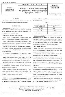 Odlewy z żeliwa sferoidalnego dla przemysłu motoryzacyjnego - Wymagania i badania BN-80/3610-08
