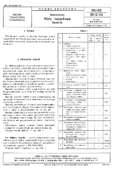 Samochody - Wały napędowe - Badania BN-80/3612-04