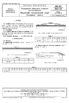 Wyposażenie elektryczne pojazdów samochodowych - Wycieraki wycieraczek szyb - Wymagania i badania BN-83/3687-05