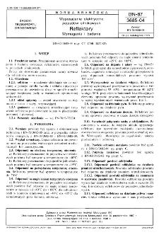 Wyposażenie elektryczne pojazdów silnikowych - Reflektory - Wymagania i badania BN-87/3685-04