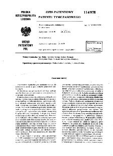 Ozonizator rurowy : opis patentowy patentu tymczasowego nr 114978