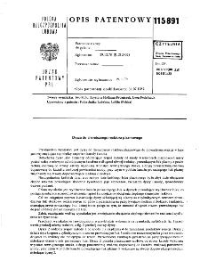 Dysza do chemicznego reaktora plazmowego : opis patentowy nr 115891