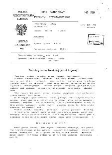 Podłoże gruntowe konstrukcji jezdni drogowej : opis patentowy patentu tymczasowego nr 145559