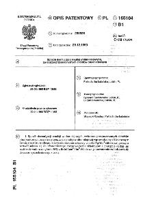 Sposób deemulgacji emulsji wodno-olejowych, zwłaszcza przepracowanych chłodziw obrabiarkowych : opis patentowy nr 165104