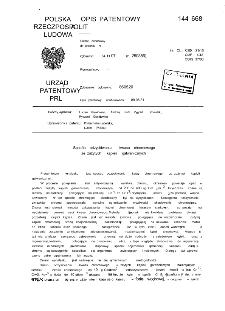 Sposób odzyskiwania kwasu chromowego ze zużytych kąpieli galwanicznych : opis patentowy nr 144668