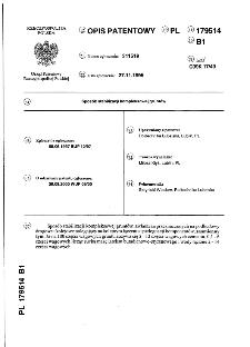 Sposób stabilizacji kompleksowej gruntów : opis patentowy nr 179514