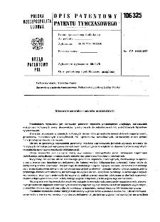 Sterowany generator impulsów prostokątnych : opis patentowy patentu tymczasowego nr 106325