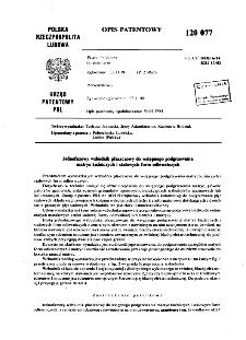 Jednofazowy wzbudnik płaszczowy do wstępnego podgrzewania matryc kuźniczych i stalowych form odlewniczych : opis patentowy nr 120077