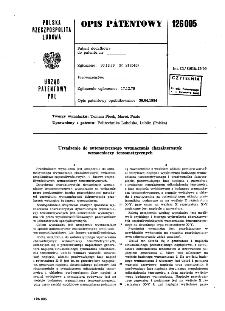 Urządzenie do automatycznego wyznaczania charakterystyk wzmacniaczy tensometrycznych : opis patentowy nr 126005