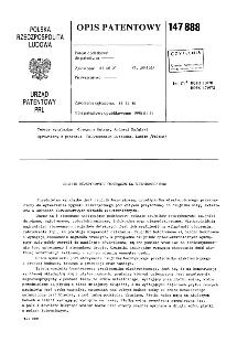 Czujnik bezstykowego przełącznika elektronicznego : opis patentowy nr 147888