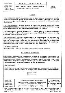 Cement - Metody badań - Badanie ciepła uwodnienia metodą termosową BN-63/6730-03