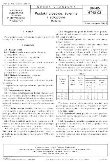 Pustaki gipsowe, ścienne i stropowe - Badania BN-65/6740-03