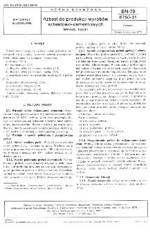 Azbest do produkcji wyrobów azbestowo-cementowych - Metody badań BN-79/6750-01