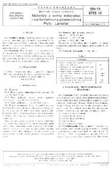 """Materiały izolacji termicznej - Materiały z wełny mineralnej z uszlachetnioną powierzchnią - Płyty """"Lamella"""" BN-79/6755-13"""