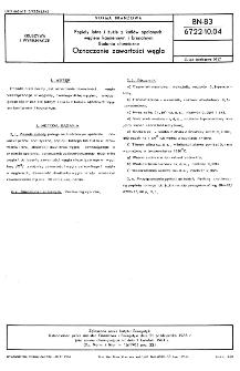 Popioły lotne i żużle z kotłów opalanych węglem kamiennym i brunatnym - Badania chemiczne - Oznaczanie zawartości węgla BN-83/6722-10.04