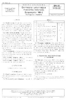 Domieszka upłynniająca mieszankę betonową - Dyspergator NB-2 - Wymagania i badania BN-85/6729-01