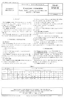 Kruszywa mineralne - Piaski, żwiry i grysy do produkcji rur WIPRO i BETRAS BN-87/6723-05