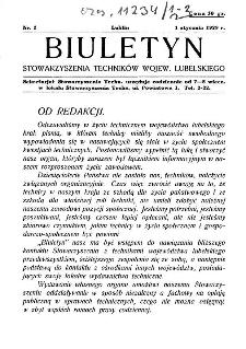 Biuletyn Stowarzyszenia Techników Wojew. Lubelskiego 1929 Nr 1