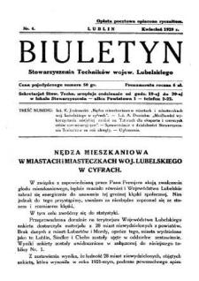 Biuletyn Stowarzyszenia Techników Wojew. Lubelskiego 1929 Nr 4