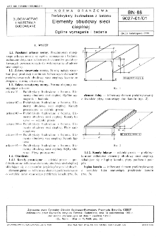Prefabrykaty budowlane z betonu - Elementy obudowy sieci cieplnej - Ogólne wymagania i badania BN-88/9027-01/01