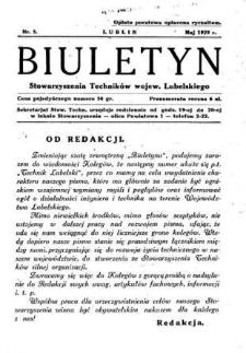 Biuletyn Stowarzyszenia Techników Wojew. Lubelskiego 1929 Nr 5
