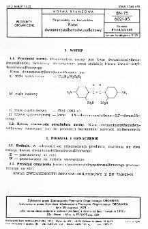 Półprodukty do barwników - Kwas dwuaminostylbenodwusulfonowy BN-75/6021-05